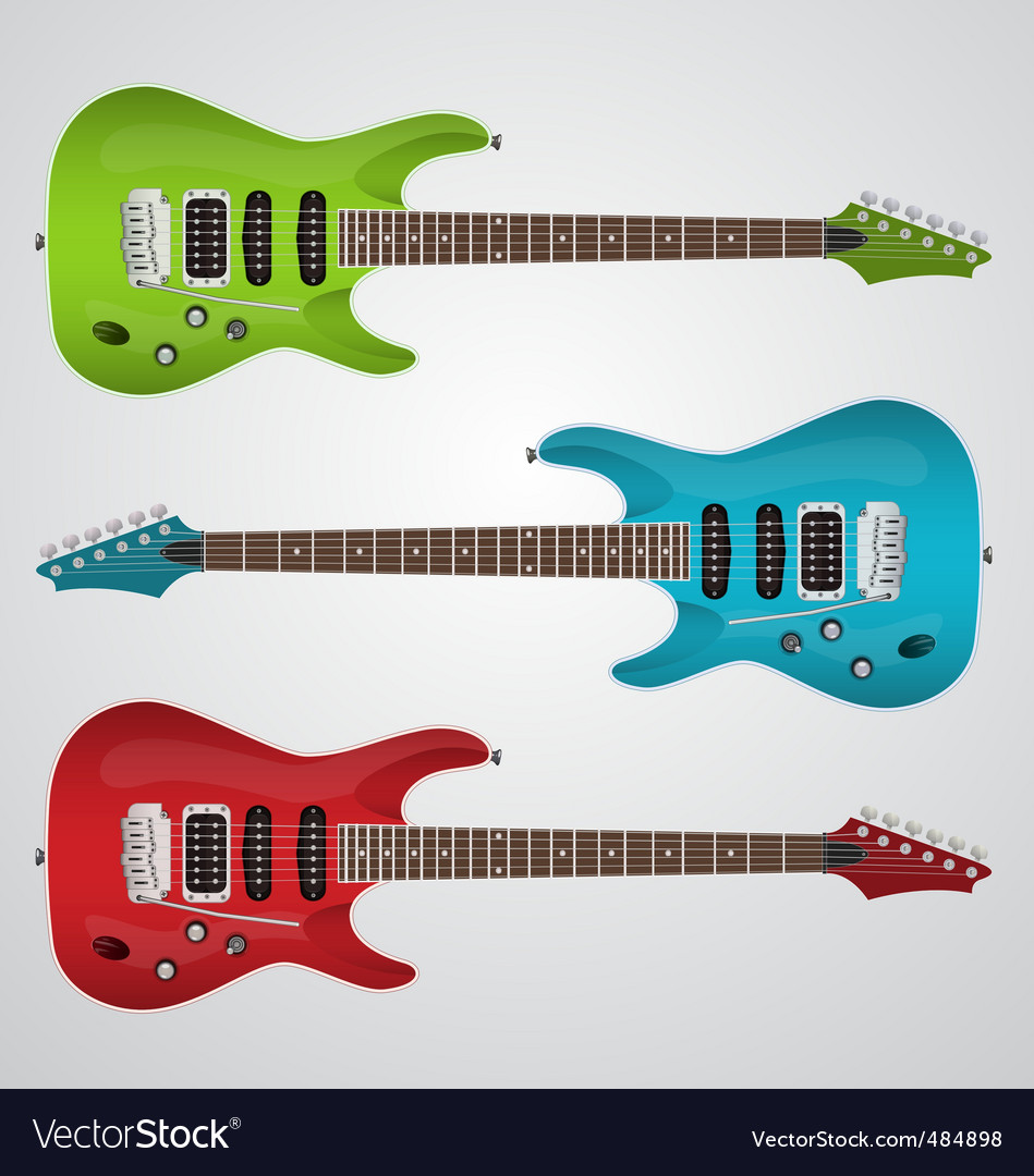 Set of electric guitars vector | Price: 1 Credit (USD $1)