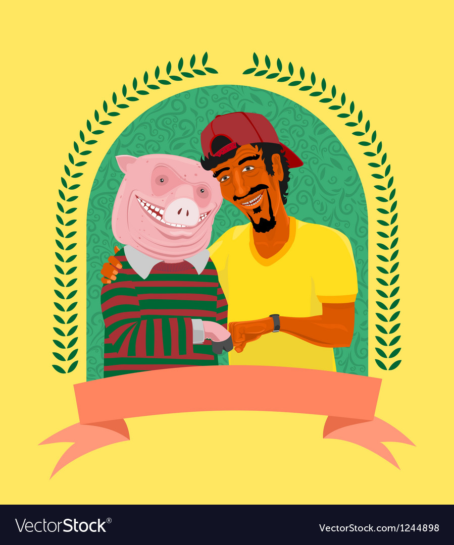 Vegetarian and pig vector | Price: 5 Credit (USD $5)