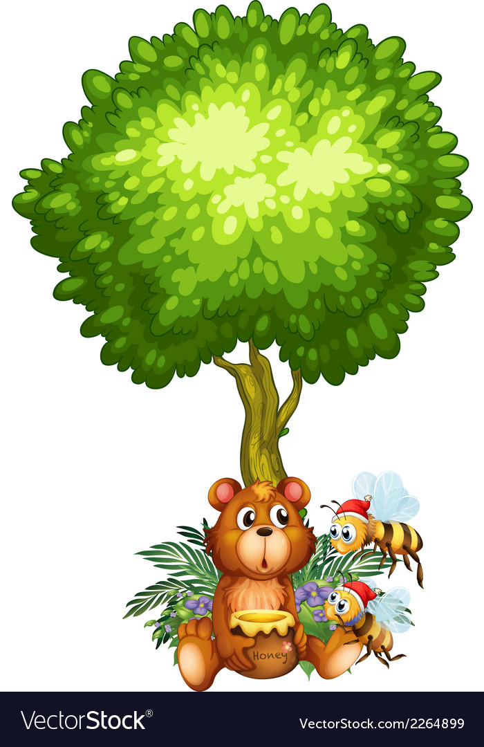 A bear and bees under the tree vector | Price: 1 Credit (USD $1)