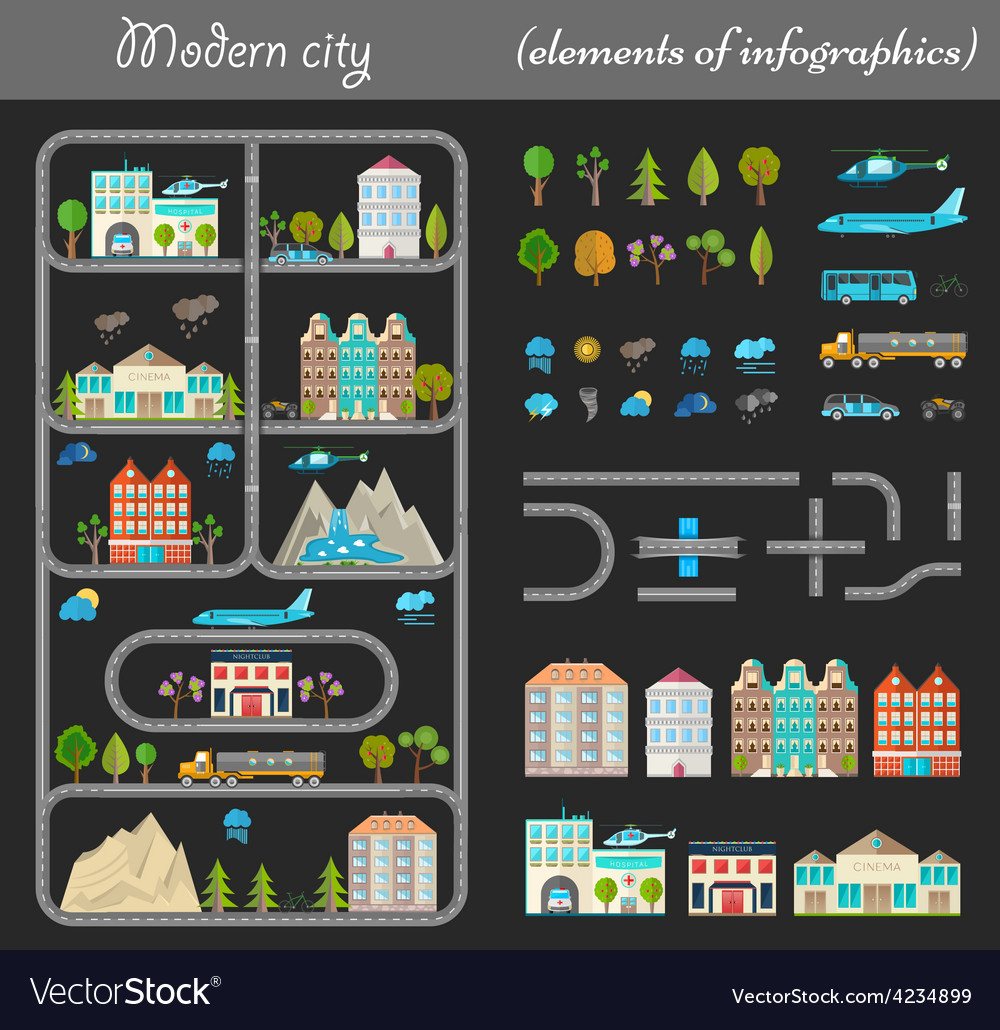 Elements of city night vector | Price: 3 Credit (USD $3)
