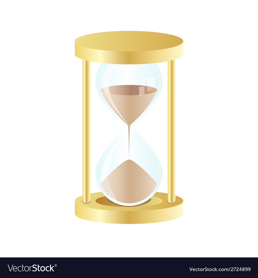 Gold hourglass icon on white background vector | Price: 1 Credit (USD $1)