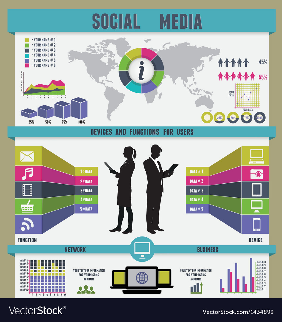 Infographic of social media vector | Price: 3 Credit (USD $3)