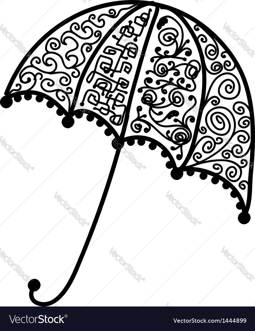 Ornate umbrella design black silhouette vector | Price: 1 Credit (USD $1)