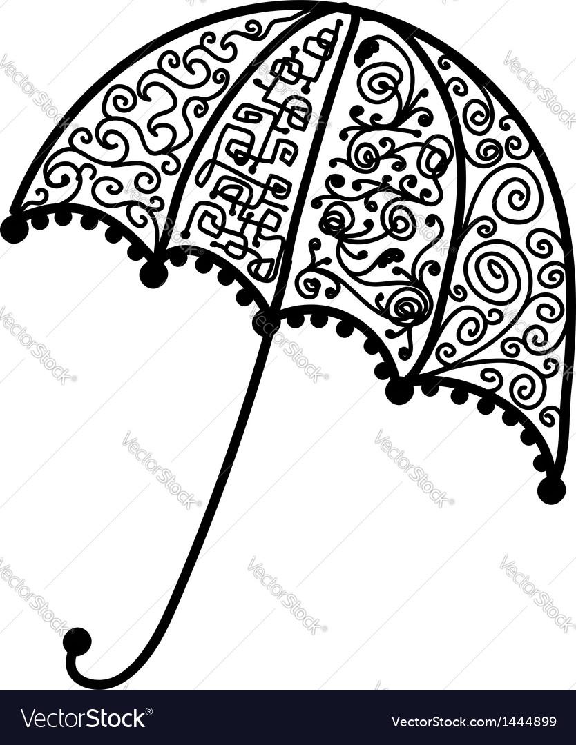 Ornate umbrella design black silhouette vector | Price: 1 Credit (USD $1)
