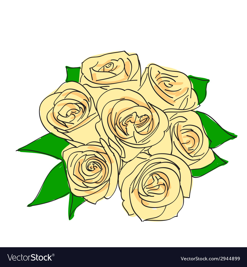 Rose with leaves vector | Price: 1 Credit (USD $1)