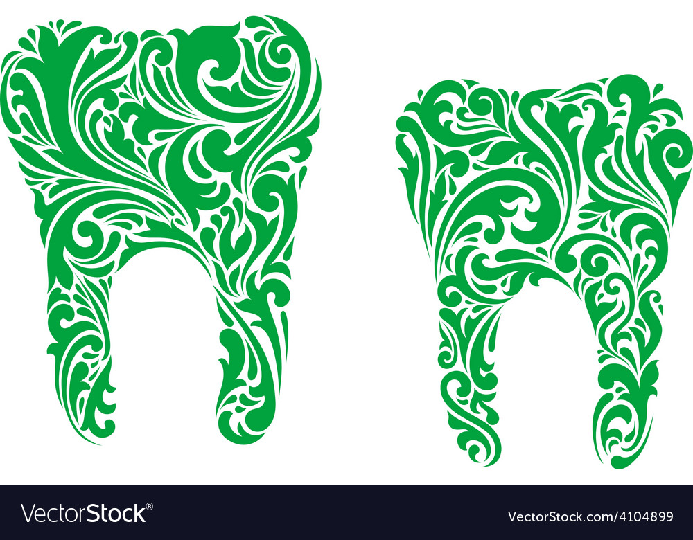 Teeth with floral and foliate patterns vector | Price: 1 Credit (USD $1)