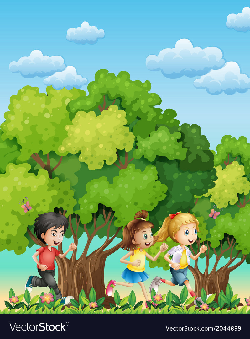 Three kids running outdoor vector   Price: 3 Credit (USD $3)