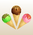 Ice cream three cone vector