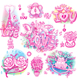 Set of love sketchy vector