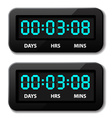 Glowing digital counter - countdown timer vector