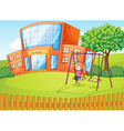 Girl and a school in beautiful nature vector