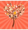 Abstract retro heart shaped tree vector