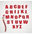 Alphabet and cartoon brush vector