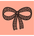 Decorative lacy bow on beige background vector
