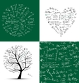 Math collection frame tree seamless background vector