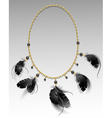 Jewelry with black feathers vector