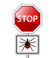 Ixodes ricinus tick road stop sign vector