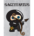 Zodiac sign sagittarius with cute black ninja vector