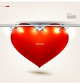 Empty red heart placard vector