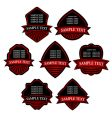 Set of red striped labels vector