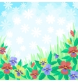 Flowers pansies and sky background vector