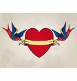 Tattoo style swallows with heart old school vector