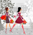 Fashion girls with purchase in city for your vector