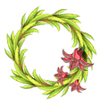 A round leafy border with big flowers vector