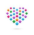 Heart mosaic crystal logo icon vector