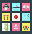 Flat japan icons set vector