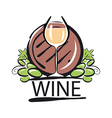 Logo white wine barrel and the vine vector