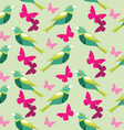 Seamless pattern with butterfly and birds vector