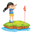 A young lady golfing vector