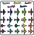 Set of different airplane icons vector