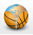 Planet earth inside basketball ball vector