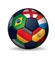Soccer ball with world flags vector