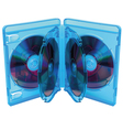 Opened blu ray disc box with discs vector