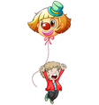 A happy young man holding a clown balloon vector
