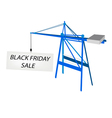 Blue mobile crane with black friday billboard vector