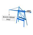 Blue mobile crane with black friday billboard vector