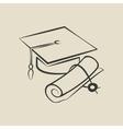 Graduation cap and diploma - vector