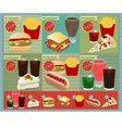 Set of retro fast food menu vector