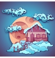 Origamy house with moon on night sky vector