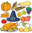 Thanksgiving day icon set vector