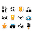 Summer beach holidays icons set vector