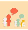 Paper cut people with speech bubbles vector