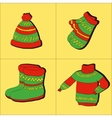 Winter collection of warm clothes vector
