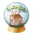 A crystal ball decor with a house inside vector