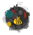 Colorful label with bee and flowers vector