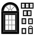 Plastic window black icons vector